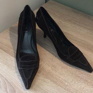 🔥1 hr sale- Prada, brown suede heels